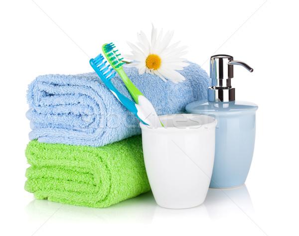 Foto stock: Sabão · dois · toalhas · isolado · branco · corpo