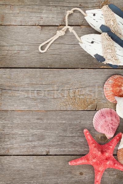 Giocattolo pesce conchiglie starfish giocattolo di legno legno Foto d'archivio © karandaev