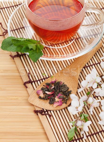 Japon yeşil çay sakura şube bambu tablo Stok fotoğraf © karandaev