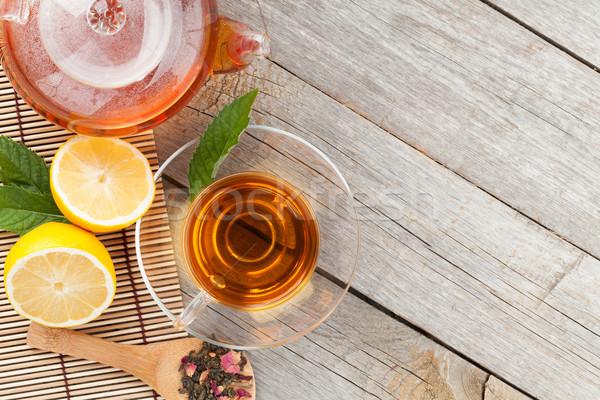 Zöld tea citrom menta fa asztal felülnézet copy space Stock fotó © karandaev