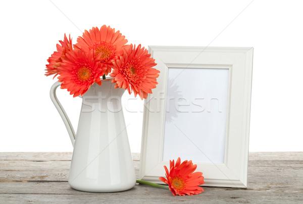Сток-фото: оранжевый · цветы · деревянный · стол · белый · рождения