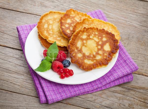 Pannenkoeken framboos houten tafel voedsel blad Stockfoto © karandaev