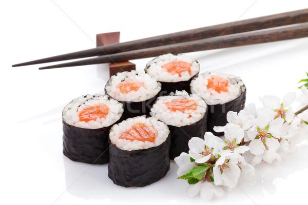 Sushi maki conjunto sakura ramo isolado Foto stock © karandaev