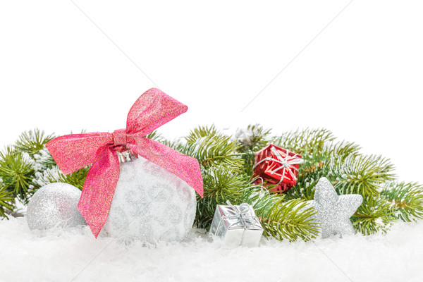 Christmas colorful decor with snow fir tree Stock photo © karandaev