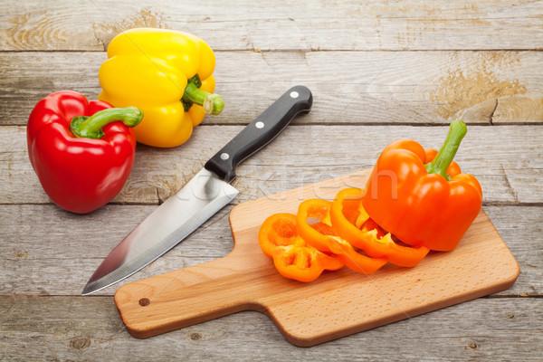 Sliced bell pepper on cutting board Stock photo © karandaev