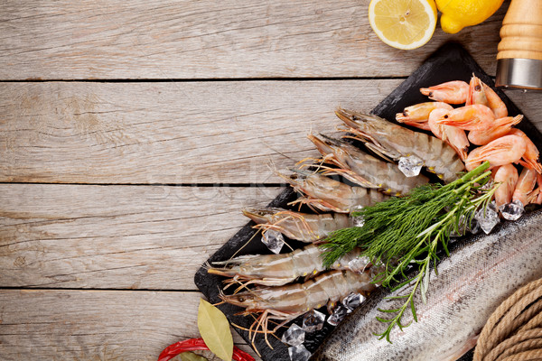 Fresh raw sea food with spices Stock photo © karandaev