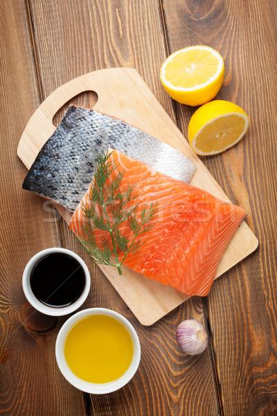 Salmone spezie tavolo in legno top view Foto d'archivio © karandaev