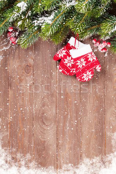 Arbre de noël neige Noël bois mitaines Photo stock © karandaev