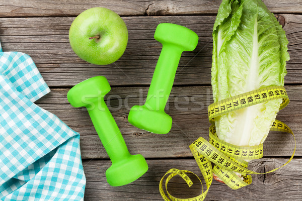 здоровое питание фитнес продовольствие древесины тело яблоко Сток-фото © karandaev