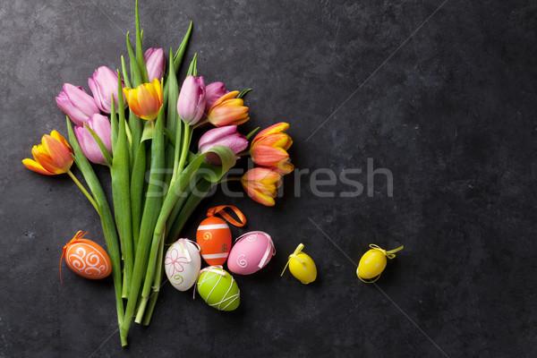 ストックフォト: カラフル · イースターエッグ · チューリップ · チューリップ · 花 · 石