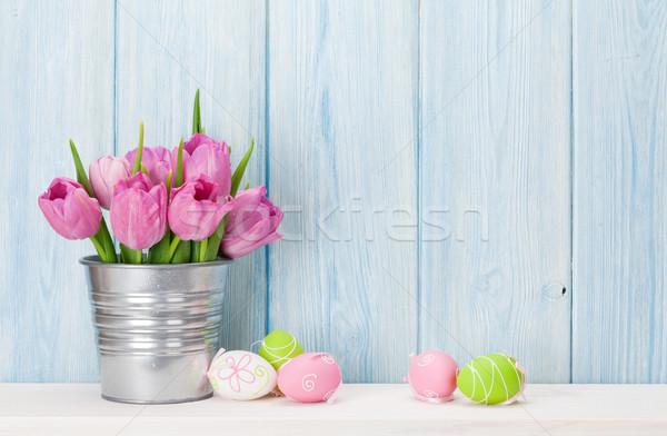ストックフォト: カラフル · イースターエッグ · チューリップ · 花束 · シェルフ · 木製