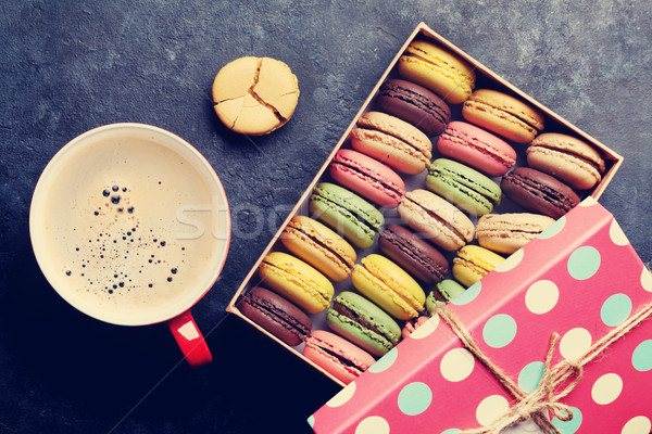Stock photo: Colorful macaroons and coffee