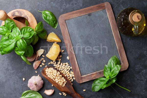 Pesto sos malzemeler pişirme fesleğen zeytinyağı Stok fotoğraf © karandaev