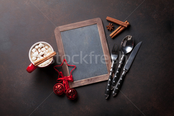 Chalkboard for your christmas menu Stock photo © karandaev