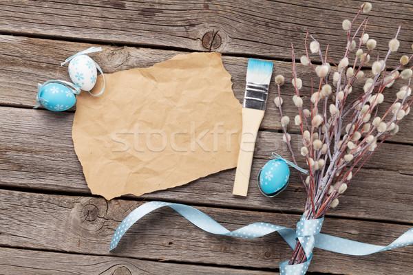 Pasen kaart pussy wilg eieren wenskaart Stockfoto © karandaev