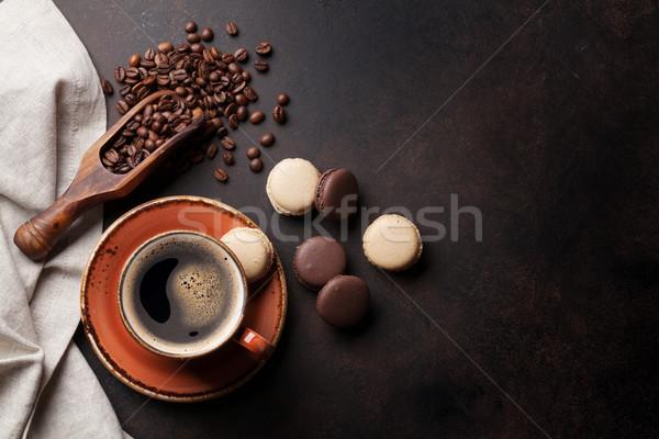 Koffiekopje oude keukentafel bonen top Stockfoto © karandaev