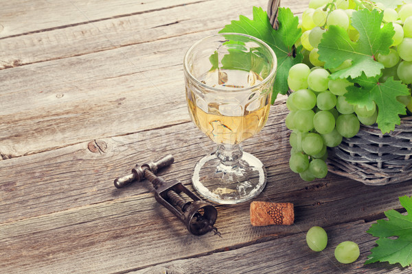 White grape and wine glass Stock photo © karandaev