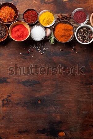 Specerijen kruiden steen tabel top Stockfoto © karandaev