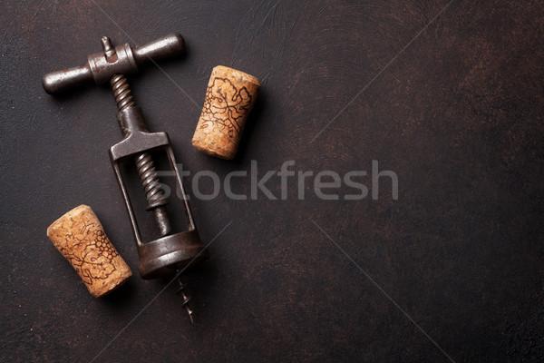 Vintage vin tire-bouchon pierre haut vue Photo stock © karandaev