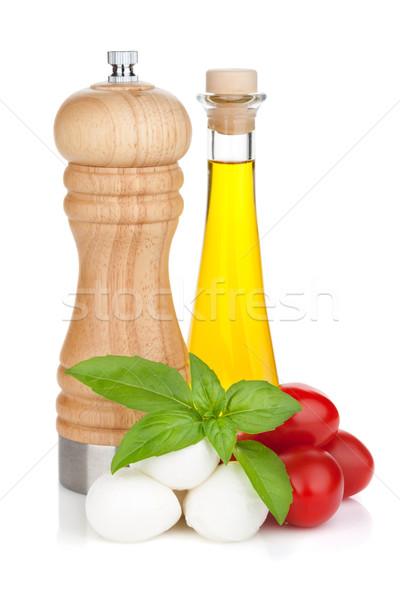 моцарелла сыра помидоры черри базилик оливкового масла перец Сток-фото © karandaev