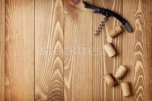 Dugóhúzó bor fa asztal copy space fa ital Stock fotó © karandaev