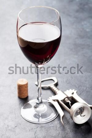 Vino rosso vetro bottiglia isolato bianco Foto d'archivio © karandaev