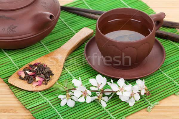 Japanese green tea and sakura branch over mat Stock photo © karandaev