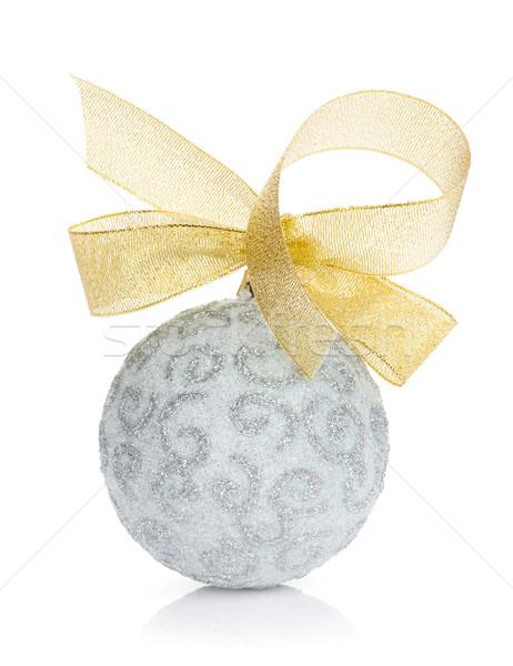 Christmas cacko złota wstążka odizolowany biały Zdjęcia stock © karandaev