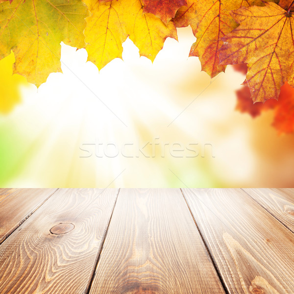 Autumn nature background with maple leaves, wooden table Stock photo © karandaev