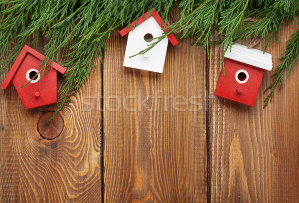 Christmas fir tree and birdhouse decor Stock photo © karandaev