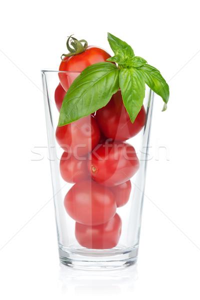 Pomodorini basilico isolato bianco foglia salute Foto d'archivio © karandaev