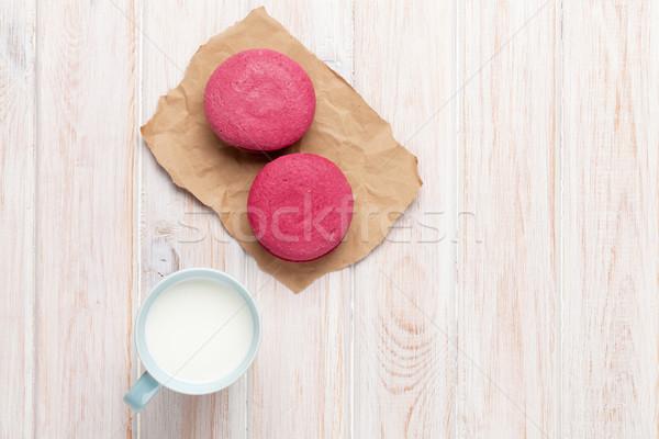 красочный macarons Кубок молоко белый деревянный стол Сток-фото © karandaev