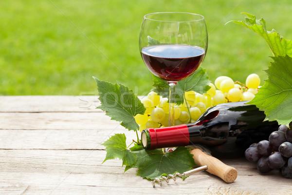 Vino rosso bottiglia di vino uva tavolo in legno copia spazio alimentare Foto d'archivio © karandaev