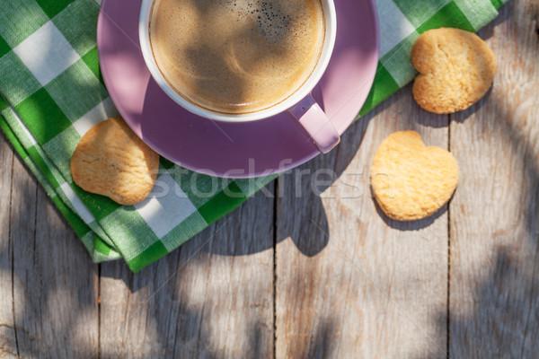 Stockfoto: Koffiekopje · cookies · tuin · tabel · top