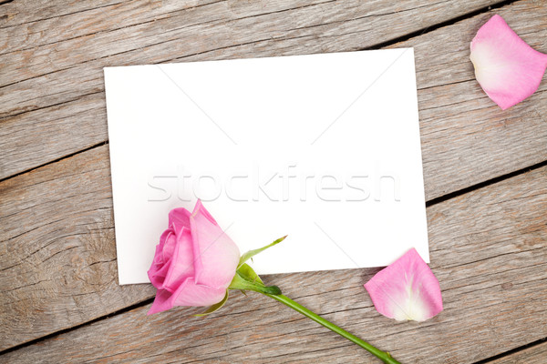 Valentines day greeting card or photo frame and pink rose Stock photo © karandaev