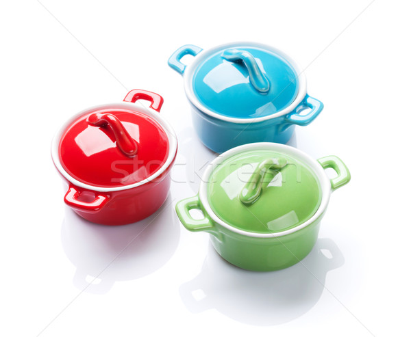 Colorful saucepans Stock photo © karandaev