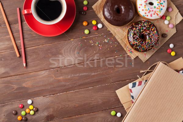 Café mesa de madera superior vista espacio de la copia Foto stock © karandaev