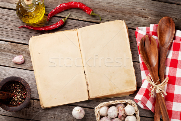 Vintage recipe book, utensils and ingredients Stock photo © karandaev