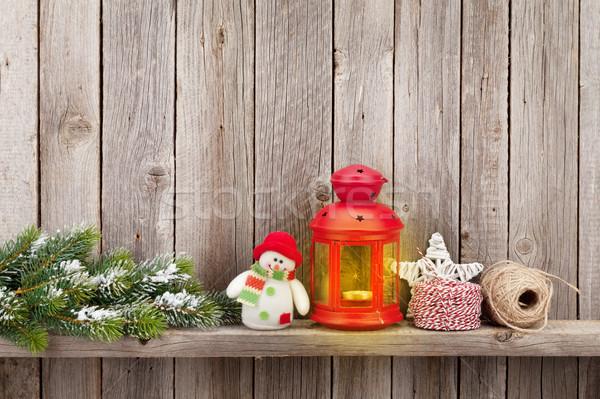 Natal vela lanterna árvore decoração Foto stock © karandaev