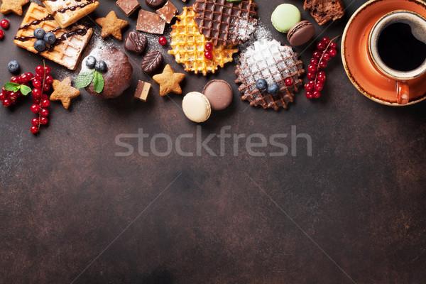 Café dulces bayas superior vista espacio de la copia Foto stock © karandaev