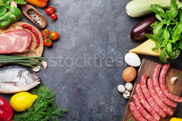 ストックフォト: 野菜 · 魚 · 肉 · 材料 · 料理 · トマト
