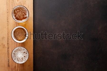 Alman birası bira taş tablo üst görmek Stok fotoğraf © karandaev