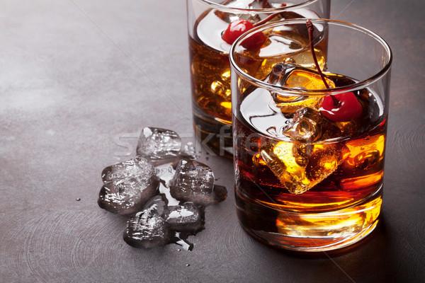 Manhattan cóctel whisky espacio de la copia fiesta vidrio Foto stock © karandaev