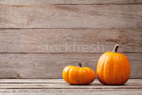 ősz tökök fa asztal kilátás copy space természet Stock fotó © karandaev