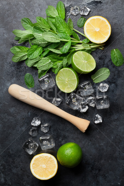 Mojito cocktail menta calce ghiaccio Foto d'archivio © karandaev