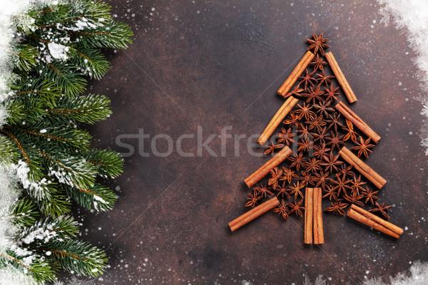 ánizs fahéj karácsony fa fűszer karácsonyfa Stock fotó © karandaev