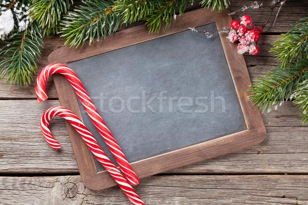 Рождества конфеты снега деревянный стол Top Сток-фото © karandaev