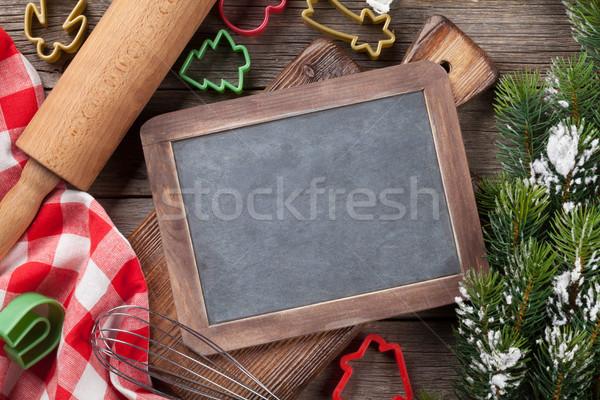 Noël cuisson ustensiles neige arbre haut Photo stock © karandaev