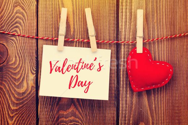 Photo frame and handmaded valentines day toy heart Stock photo © karandaev