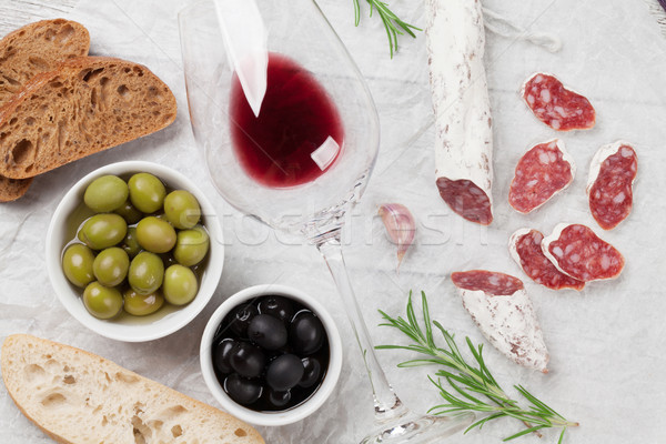 Salami, sausage, olives and wine Stock photo © karandaev